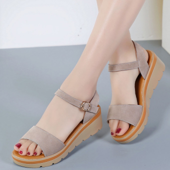 Versatile female flat heel flat leather women's shoes semi-high heeled sandals (Brown)