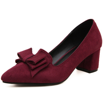 Versatile female pointed career high-heeled shoes thick with shoes (Wine red color)
