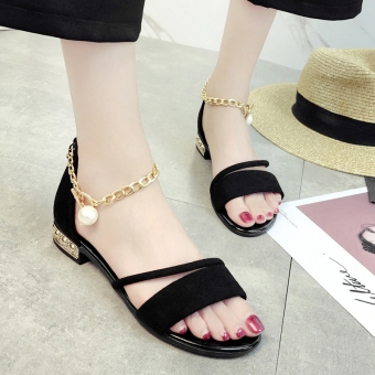 Versatile Female Summer New style high-heeled shoes sandals (Women's + Black pearl chain)