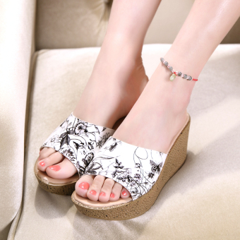 Versatile leather slip outerwear slippers sandals (Pattern black)