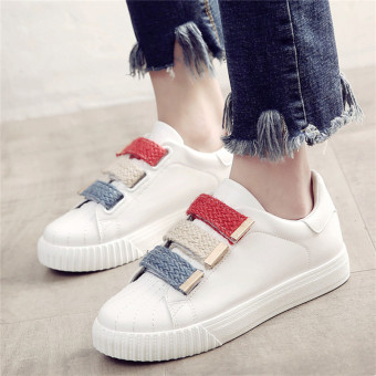 Versatile Plus velvet female autumn and winter casual cotton-padded shoes BayMini shoes (662 white Partial small a code)