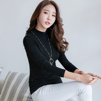 Versatile Plus velvet female autumn and winter small shirt with high collar bottoming shirt (Black [in the high collar not Plus velvet])