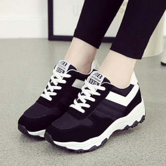 Versatile Plus velvet warm women's shoes Korean-style sports shoes (Black)