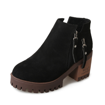 Versatile side zip waterproof platform round women's boots thick bottomed short boots (Black suede (Bo Rong))