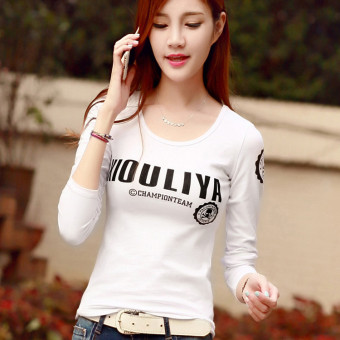 Versatile Slim fit bottoming shirt Korean-style Top (White)