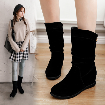 Versatile spring female New style tube boots short boots (Black cotton in)