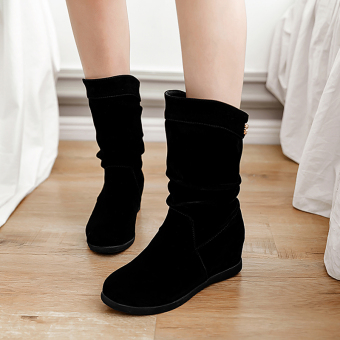 Versatile spring female New style tube boots short boots (Black winter wool in)
