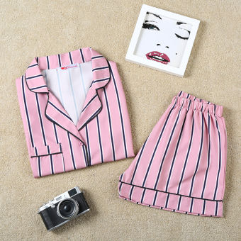 Versatile Striped short sleeved shorts pajamas women's home clothes (Striped pink)