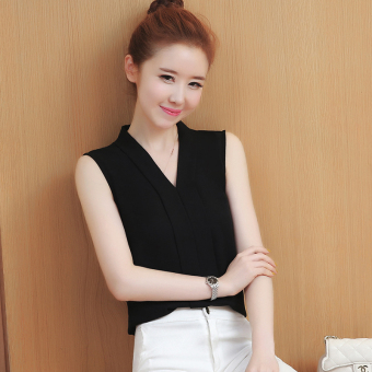 Versatile V-neck sleeveless slimming white shirt Korean-style chiffon shirt