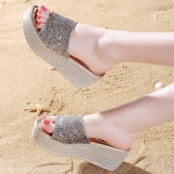 Versitile fashion female New style thick bottomed sandals slanted heel sandals shoes (Silver)
