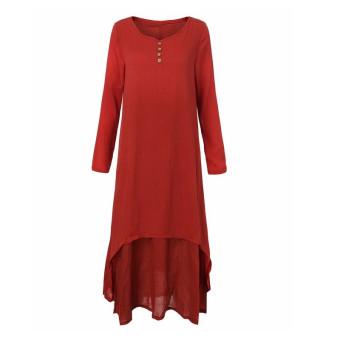 Vestidos 2016 Women Autumn Dress Fashion Plus Size Elegant Loose Full Sleeve V Neck Dress Casual Solid Cotton Linen Boho Long Maxi Dress Brick-Red - 4