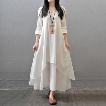 Vestidos 2016 Women Autumn Dress Fashion Plus Size Elegant Loose Full Sleeve V Neck Dress Casual Solid Cotton Linen Boho Long Maxi Dress White