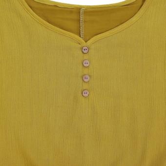 Vestidos 2016 Women Autumn Dress Fashion Plus Size Elegant Loose Full Sleeve V Neck Dress Casual Solid Cotton Linen Boho Long Maxi Dress Yellow - 5