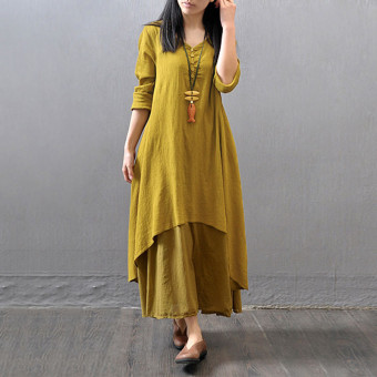 Vestidos 2016 Women Autumn Dress Fashion Plus Size Elegant Loose Full Sleeve V Neck Dress Casual Solid Cotton Linen Boho Long Maxi Dress Yellow