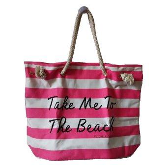 Victoria's Secret Take Me To The Beach Tote Bag (White/Pink)