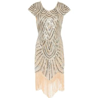 Vintage Flapper Great Gatsby Sequin Fringe Party Dress Plus Size Mesh Women Clothing Vestidos - intl