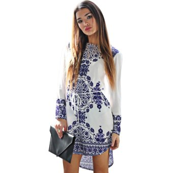 Vintage Jewel Collar Long Sleeve Printed Mini Dress for Ladies Price Philippines