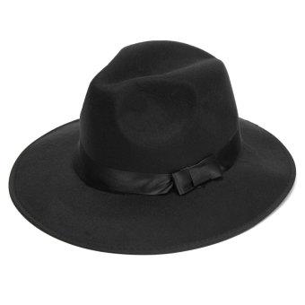 Vintage Men Women Wide Brim Wool Felt Floppy Fedora Jazz Hat Bowler Trilby Cap - intl - 2