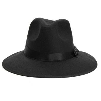 Vintage Men Women Wide Brim Wool Felt Floppy Fedora Jazz Hat Bowler Trilby Cap - intl - 5
