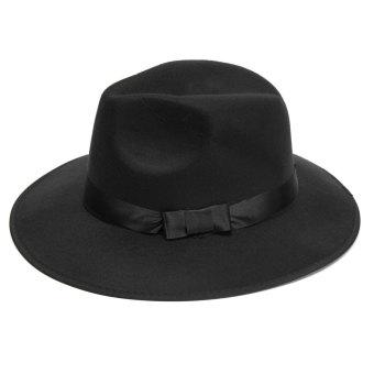 Vintage Men Women Wide Brim Wool Felt Floppy Fedora Jazz Hat Bowler Trilby Cap - intl - 3