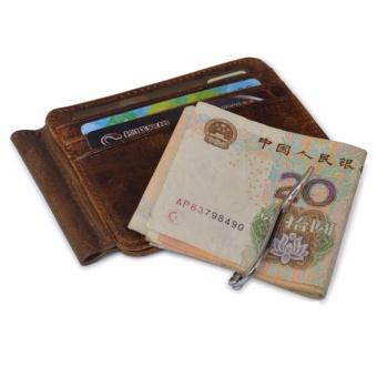 Vintage Money Clip Front Pocket Wallet Slim Minimalist Wallet RFIDBlocking Dark Brown - intl - 5
