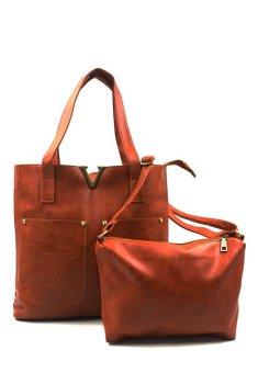 Vintage Paris Veron Leather Shoulder Bag (Dark Brown)