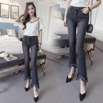 Vintage Skinny Flared Jeans For Women High Waist Bell Bottom JeansDenim Pants -Black - Intl - 2