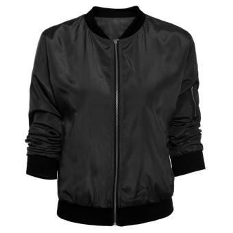 Vintage Zip Up Classic Padded Bomber Jacket Biker Coat (Black) -intl - 5