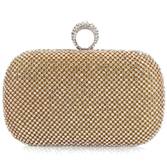 Vococal Rhinestone Chain Clutch Bag (Golden)