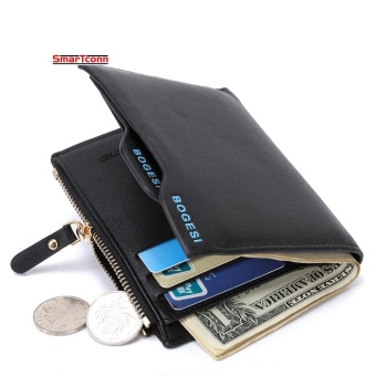 Wallets Card Wallets Coin Wallets Leather Simple Checkbook CardHolder Bifold Wallet for Men Black - intl