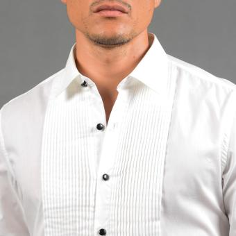 WALLSTREET WBL2525 Fitted Woven Long Sleeve Tuxedo Shirt [White] - 4