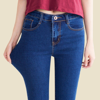 Was high Korean-style autumn New style feet pants high-waisted denim pants (Shen Lan)