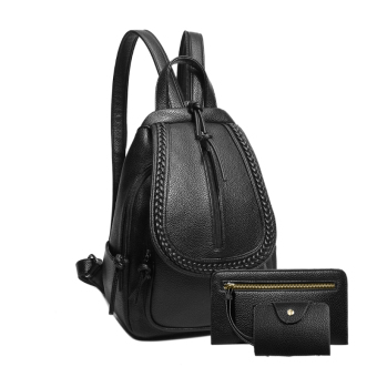 Washed leather New style backpack (Black large three sets)