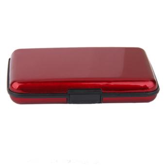 Waterproof Aluminum Metal Case Business ID Credit Card Holder Red - 2