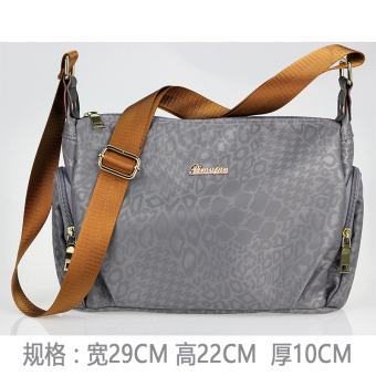 Waterproof backpack nylon women's bag (Gray printed orange strap)