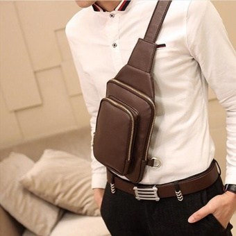 Waterproof Crossbody Bags Shoulder Bags for Men PU Leather Chest Sling Pack One Single Shoulder Man Casual Travel Messenger Bag ( Coffee )17x3x24cm - intl - 2