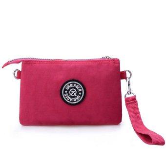 Waterproof Nylon Handbag Shoulder Diagonal Bag Messenger Hot Pink - picture 2