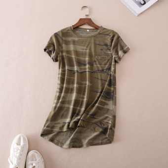 Wd117 comfortable not rule swing bottom thin section camouflage T-shirt