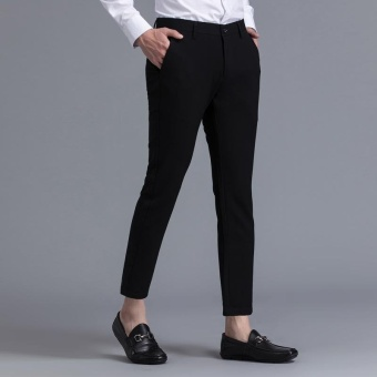 Weargen Brand Mens Classic Design Formal Business And Casual PencilSuits Pants Slim Fit For Wedding And Office Dress PantsSY-9809-Black - intl - 2