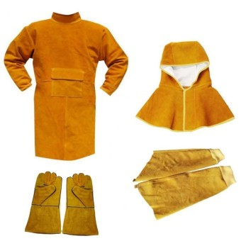 Welding Long Coat Protective Clothing Apparel Workwear Kit for Welder - intl