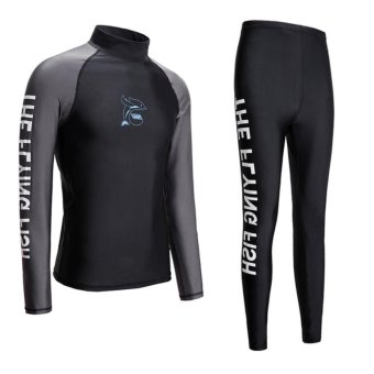 Wetsuit Men For Surfing Two Piece Scuba Diving Long Sleeve Sun Protection-Black - intl