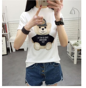 white Fashion Summer Tees for Ladies New Kawaii T Shirt WomenHarajuk O Neck Top Short Sleeve Bear Print T-Shirt - intl Price Philippines