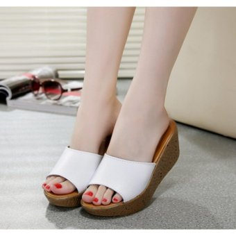 (White) New High Quality Women Wedge Casual slippers Summer High Heel Flip Flop Lady's Sandals Fashion shoes - intl - 4