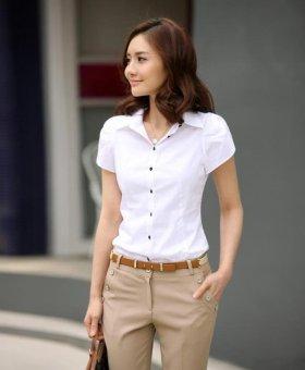 White Shirt Women OL Slim Short Sleeve Chiffon Blouse Office LadiesWork Wear Plus Size Top - intl - 2