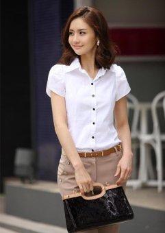 White Shirt Women OL Slim Short Sleeve Chiffon Blouse Office LadiesWork Wear Plus Size Top - intl - 5