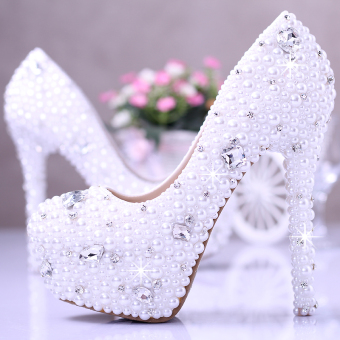 White shoot wedding photo fine with shoes wedding shoes (12cm with high mm 5cm water table white)