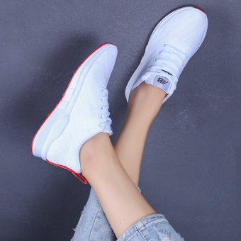 Wild Black New style Spring and Autumn white shoes sports shoes (White)