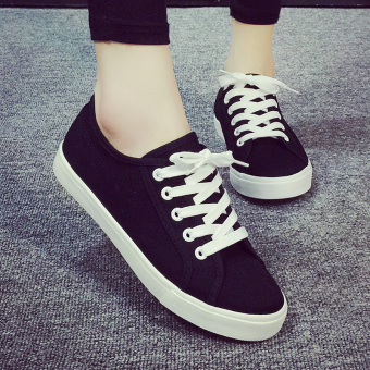 Wild breathable flat student shoes white shoes (Black)