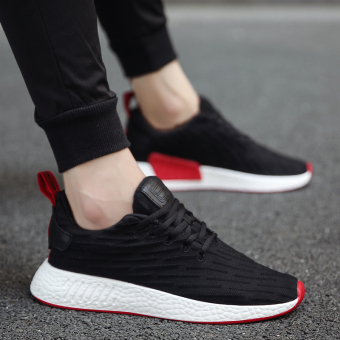 Wild breathable mesh running shoes men's sports casual shoes (937 black)