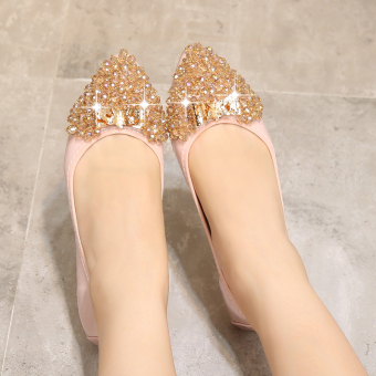 Wild diamond pointed flat with soft bottom shoes Shoes (Pink color)